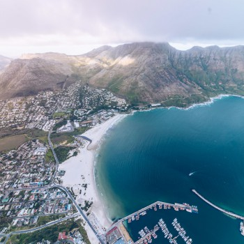 Aerial view of Cape Town via helicopter